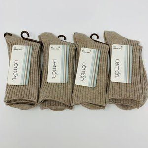 Lemon Smooth Lines Ribbed Crew Socks Lot of 4